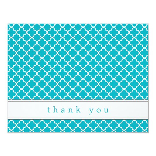 Fancy Teal Pattern Flat Thank You Note Cards