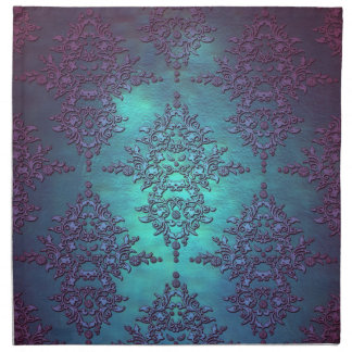 Fancy Teal to Purple Damask Pattern Napkin
