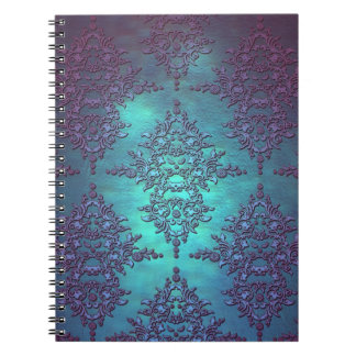 Fancy Teal to Purple Damask Pattern Note Book
