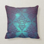 Fancy Teal to Purple Damask Pattern Throw Pillows