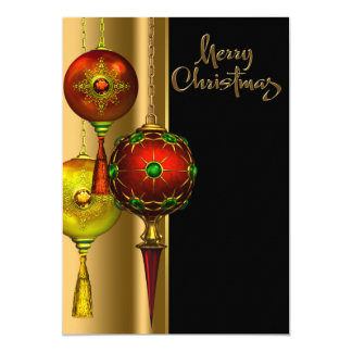 Fancy Tree Ornaments Red Gold Christmas Party Card