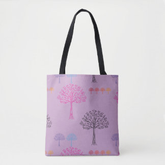 Fancy Tree Pattern Lilac Tote Bag
