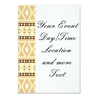 fancy tribal pattern beige (I) 9 Cm X 13 Cm Invitation Card
