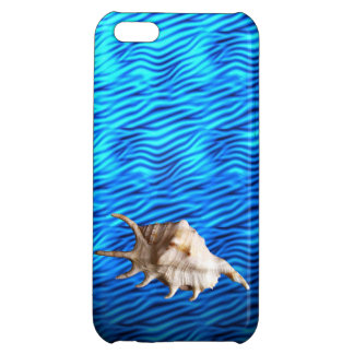 Fancy tropical seashell on bright blue background case for iPhone 5C