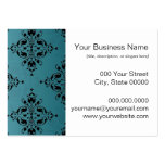 Fancy Turquoise and Black Damask Business Card Templates
