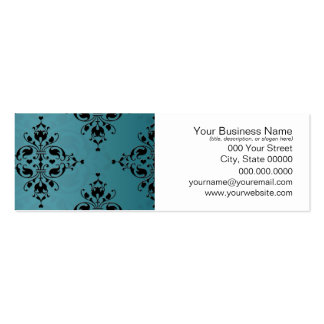 Fancy Turquoise and Black Damask Business Cards