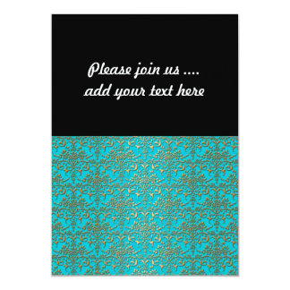 Fancy Turquoise and Gold Damask Pattern Invitations