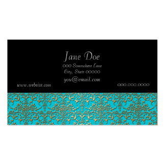 Fancy Turquoise and Gold Damask Pattern Pack Of Standard Business Cards