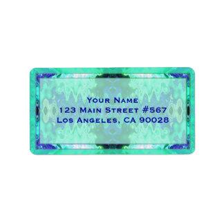 fancy turquoise blue wedding address label