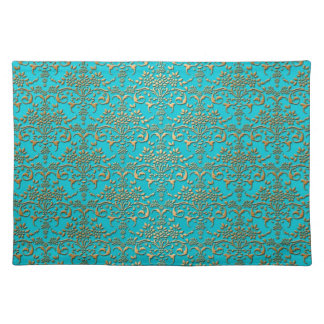 Fancy Turquoise Gold Damask Pattern Place Mat