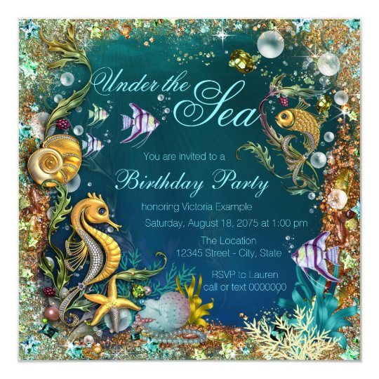 Fancy Under the Sea Birthday Party Card Zazzlecouk