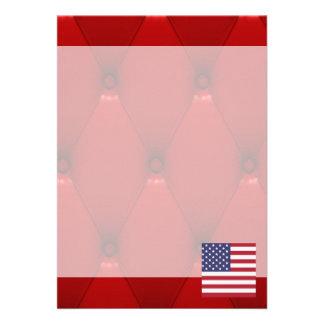 Fancy United States Flag on red velvet background 13 Cm X 18 Cm Invitation Card