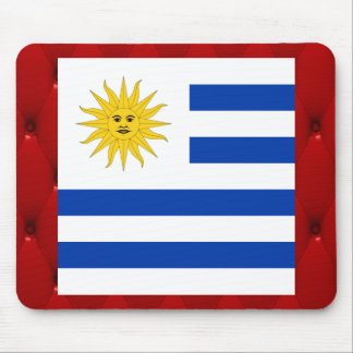 Fancy Uruguay Flag on red velvet background Mouse Pad