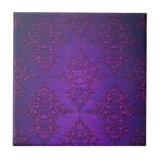 Fancy Vibrant Purple Damask Small Square Tile