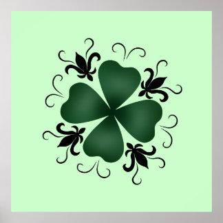 Fancy victorian shamrock St Patricks Day Poster