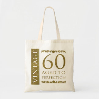 Fancy Vintage 60th Birthday Budget Tote Bag