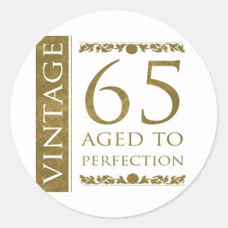 Fancy Vintage 65th Birthday Classic Round Sticker