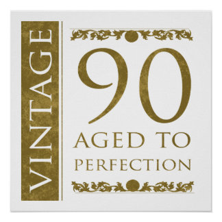 Fancy Vintage 90th Birthday Poster