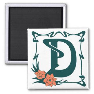 Fancy vintage art nouveau letter D Square Magnet