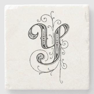 Fancy Vintage Monogram 'Y' Stone Coaster
