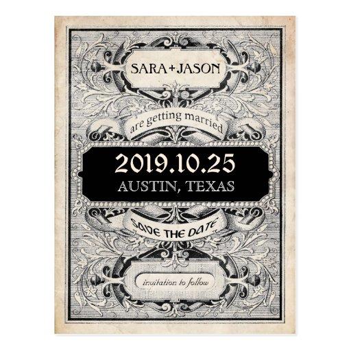 Fancy Vintage Ornate Frame Typogaphy Save the Date Post Cards