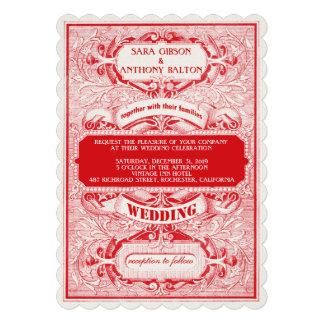 Fancy Vintage Ornate Frame Typogaphy Wedding Custom Invitation