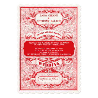 "Fancy Vintage Ornate Frame Typogaphy Wedding 5"" X 7"" Invitation Card"