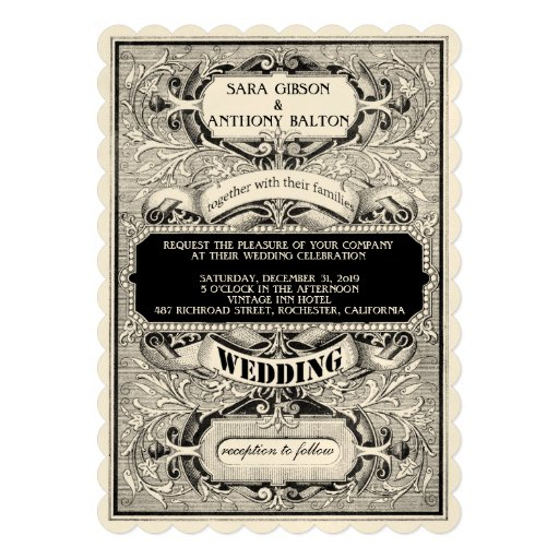 Fancy Vintage Ornate Frame Typogaphy Wedding Personalized Announcement
