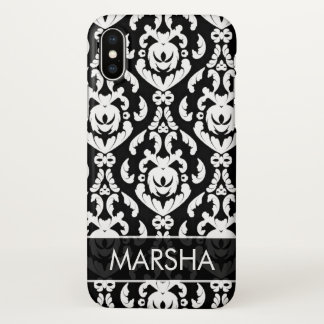 Fancy White Damask Name Template iPhone X Case