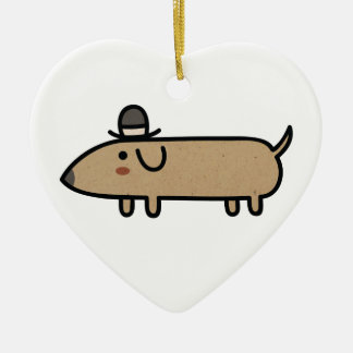 Fancy Wiener Dog with Hat Ceramic Heart Decoration