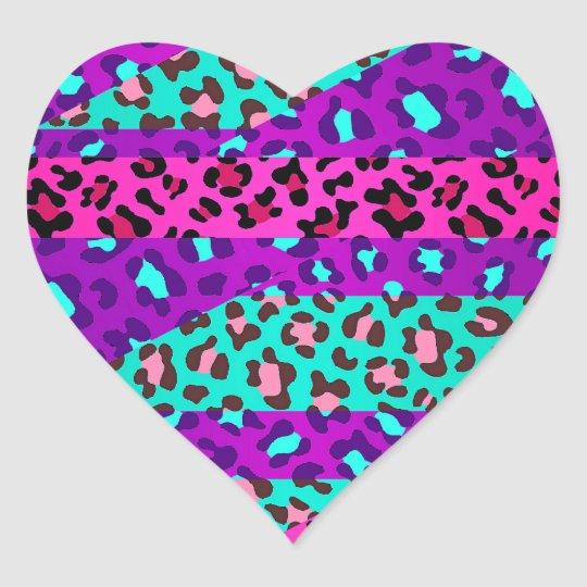 Fancy Wild Leopard Print Neon Pink Purple Blue