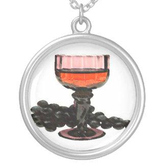 Fancy Wine & Grapes Round Pendant Necklace