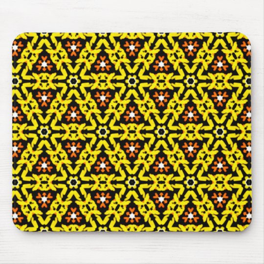 Fancy Yellow and Orange Filigree Triangle Pattern Mouse Mat