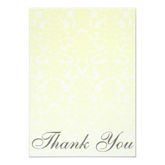 Fancy Yellow Damask Thank You Card/Note 13 Cm X 18 Cm Invitation Card