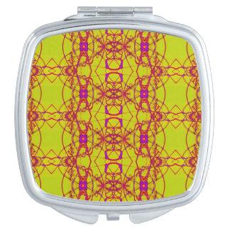 Fancy Yellow pink lace pattern Makeup Mirror