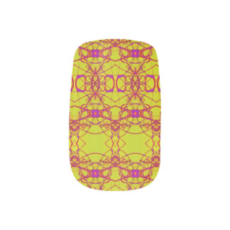 Fancy Yellow pink lace pattern Nails Stickers