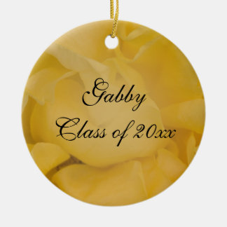 Fancy Yellow Rose Graduation Photo Christmas Ornament