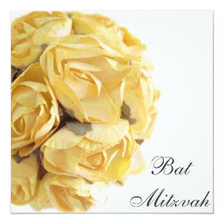 Fancy Yellow Roses Bat Mitzvah Invitation