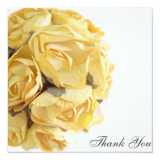 Fancy Yellow Roses Thank You Card 13 Cm X 13 Cm Square Invitation Card