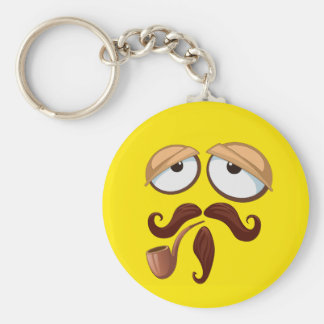 Fancy Yellow Smiley Face with Pipe and Mustache Basic Round Button Key Ring