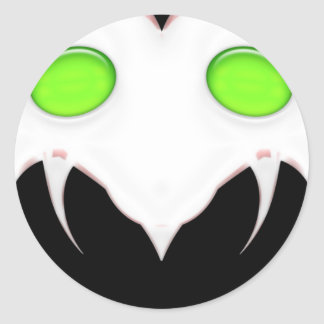 Fang Face Smiley Round Sticker