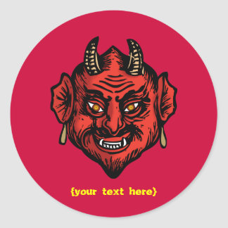 Fanged Red Devil With Horns Round Sticker