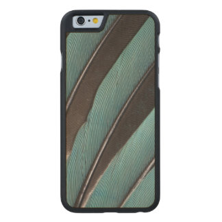 Fanned Out Blue Feather Design Carved Maple iPhone 6 Case