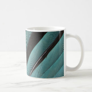 Fanned Out Blue Feather Design Coffee Mug