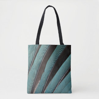 Fanned Out Blue Feather Design Tote Bag