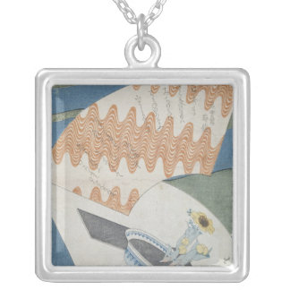 Fans floating on a stream silver plated necklace