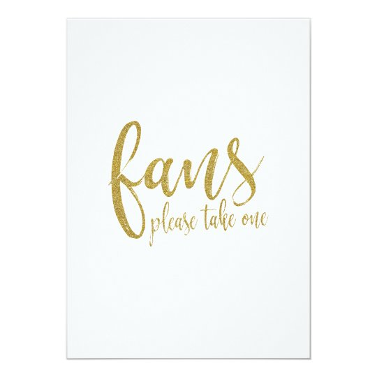 Fans Gold Glitter Affordable Wedding Sign Card