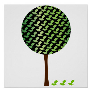 Fantail Bird Tree Customizeable Design Poster