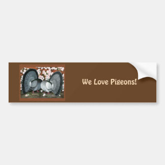 Fantail Pigeons Matched Pair Bumper Sticker