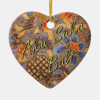 Fantasia Batik Heart Ceramic Heart Decoration